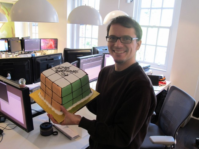 Rubik's Cube shaped birthday cake