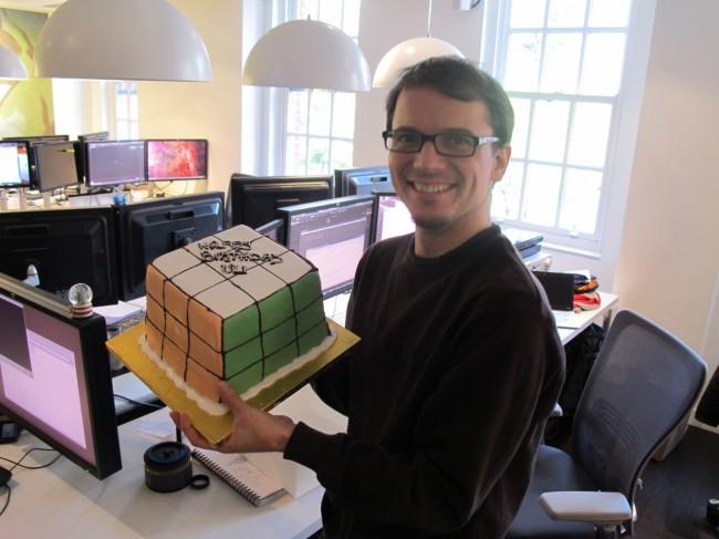 Rubik's Cube shaped birthday cake