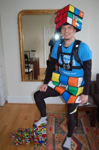 Uli in full Rubik's Costume